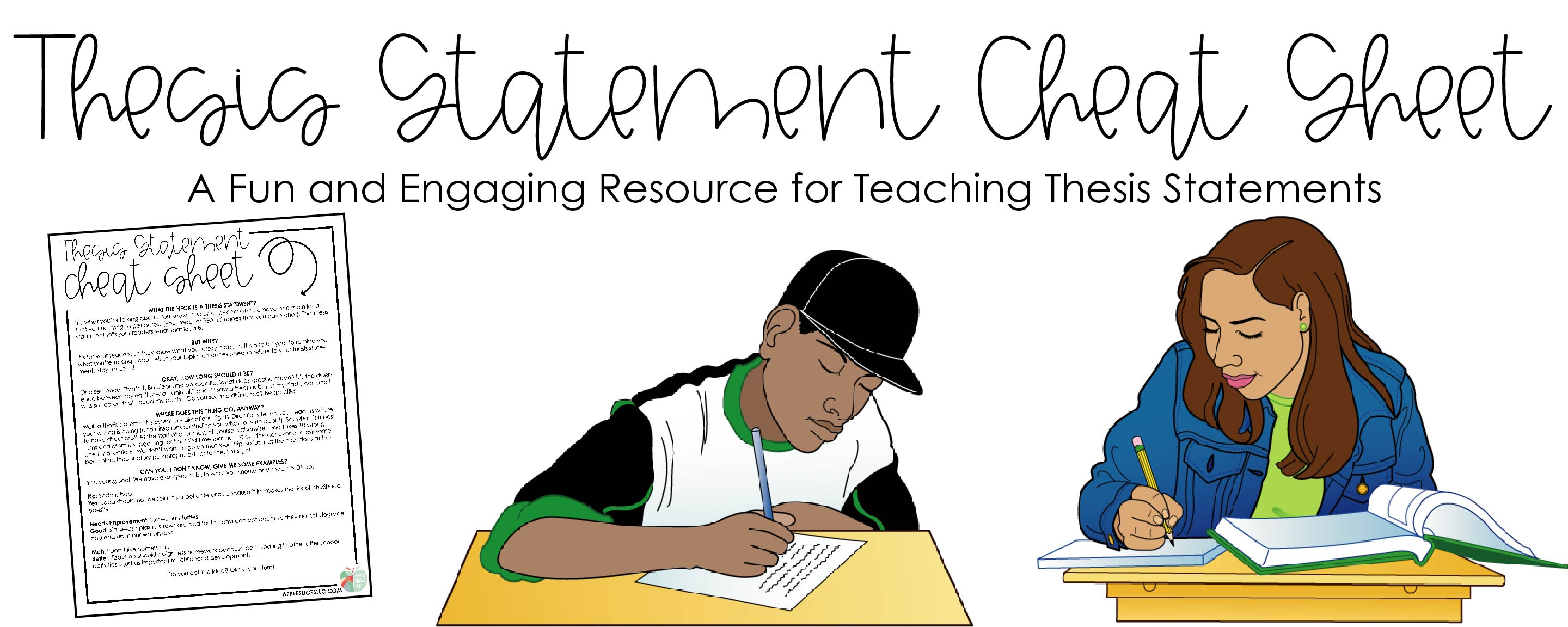 Thesis Statement Cheat Sheet Freebie | A Fun and Engaging Resource for How to Teach Thesis Statements